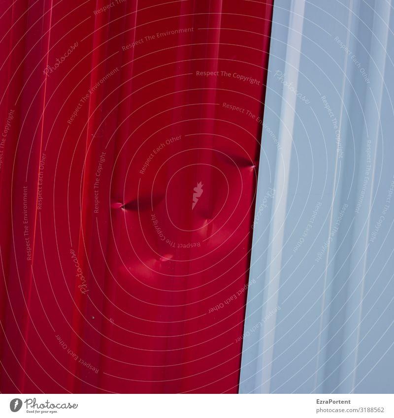 //`./.`// Bauwerk Architektur Mauer Wand Fassade Metall Zeichen Linie rot weiß Design Farbe Unfall Beule Rums Streifen zweifarbig Trapezblech Bauzaun Eindruck