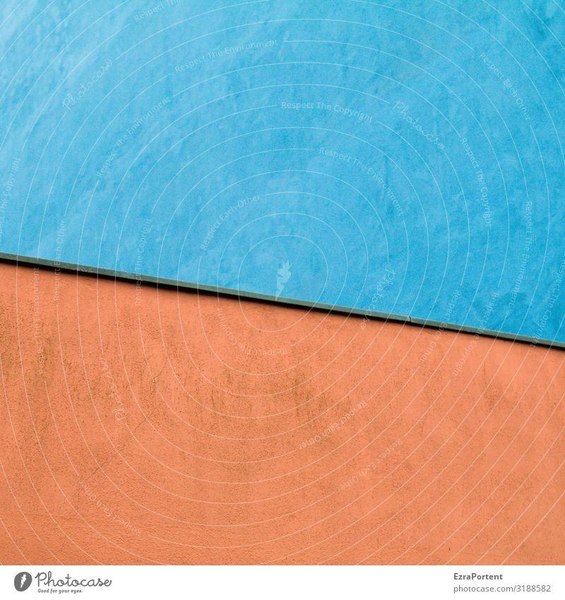 \ Haus Bauwerk Gebäude Architektur Mauer Wand Fassade Linie blau rot ästhetisch Design Hintergrundbild Grafik u. Illustration Grafische Darstellung graphisch