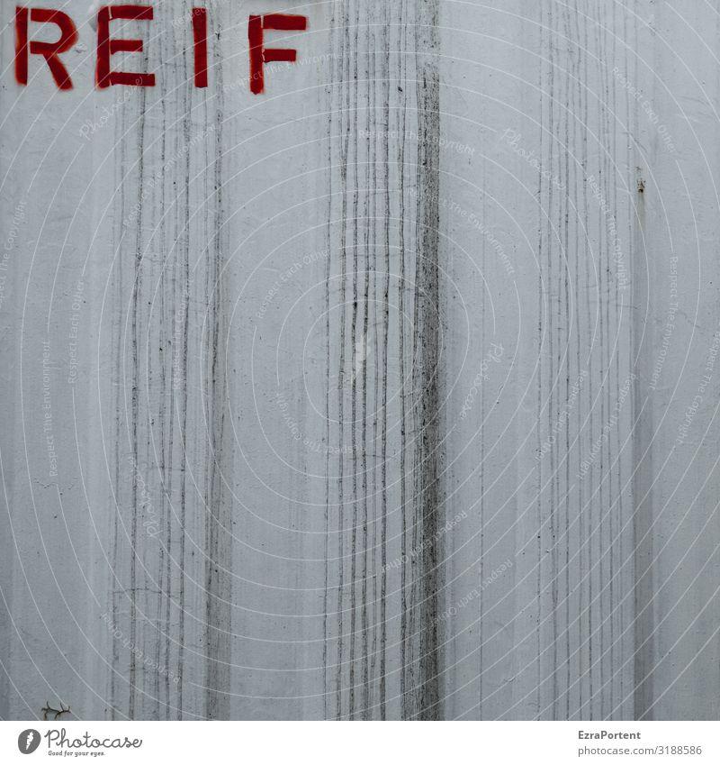 Erntezeit Container Metall Zeichen Schriftzeichen Schilder & Markierungen Linie Streifen dreckig grau rot weiß Raureif Farbfoto abstrakt Muster