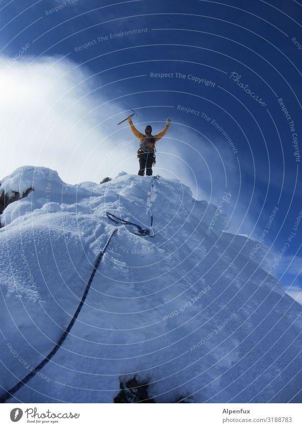 hoch die Hände-Wochenende Klima Klimawandel Schönes Wetter Wind Eis Frost Schnee Alpen Berge u. Gebirge Kanton Wallis Gipfel Schneebedeckte Gipfel Gletscher