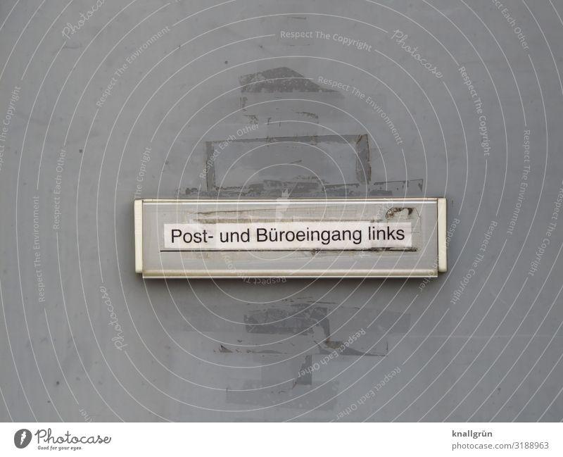 Post- und Büroeingang links Haus Gebäude Tür Briefkasten Schriftzeichen Schilder & Markierungen Hinweisschild Warnschild Kommunizieren dreckig grau silber weiß