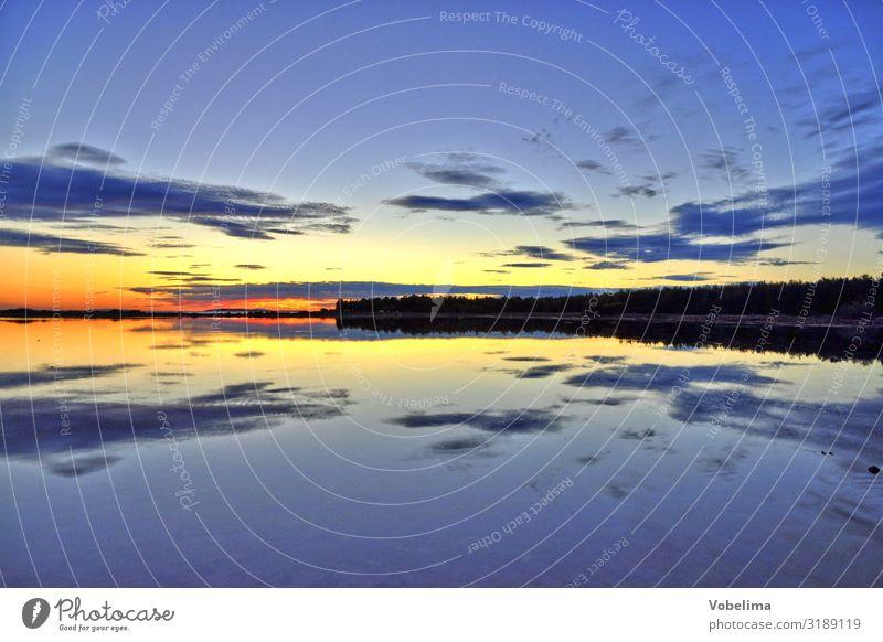 Sonnenuntergang Natur Landschaft Wasser nur Himmel Wolken Horizont Küste Meer Pag kroatien Europa blau mehrfarbig gelb gold grau orange rot schwarz Abendsonne