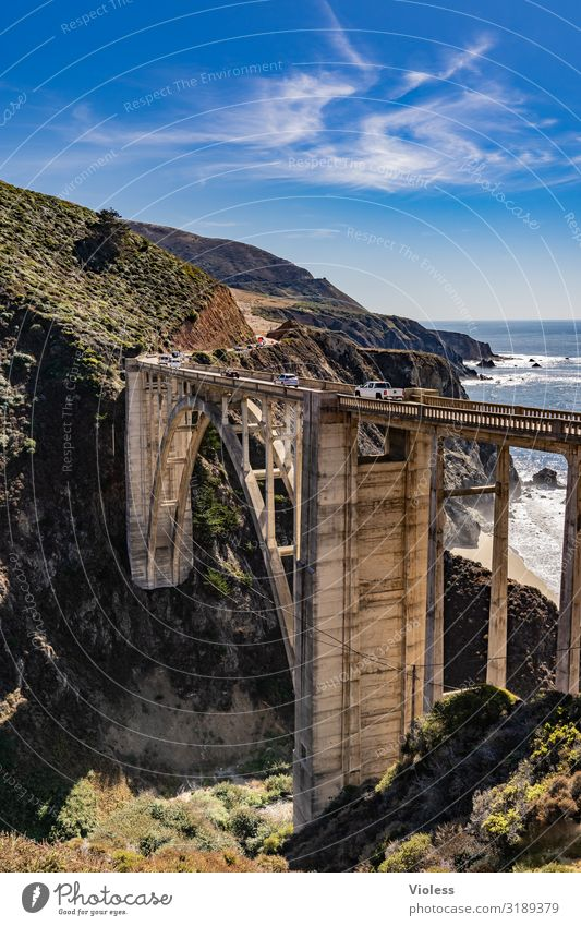 Bixby Creek Bridge Bogenbrücke Big Sur Kalifornien Carmel Monterey Highway One Bauwerk San Francisco Bogenrippen USA