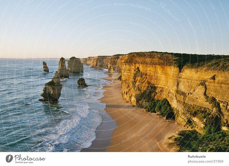 Twelve Apostels Meer Küste Klippe Sonnenuntergang Australien Felsen Natur