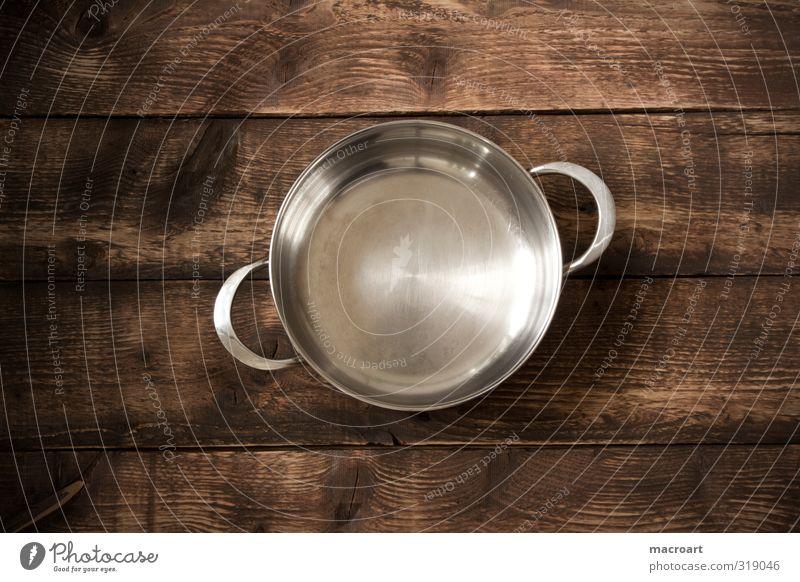 kochtopf Topf kochen & garen Manuelles Küchengerät Elektrisches Küchengerät Stillleben Vogelperspektive braun Tisch Holz Holztisch rustikal Holzbrett