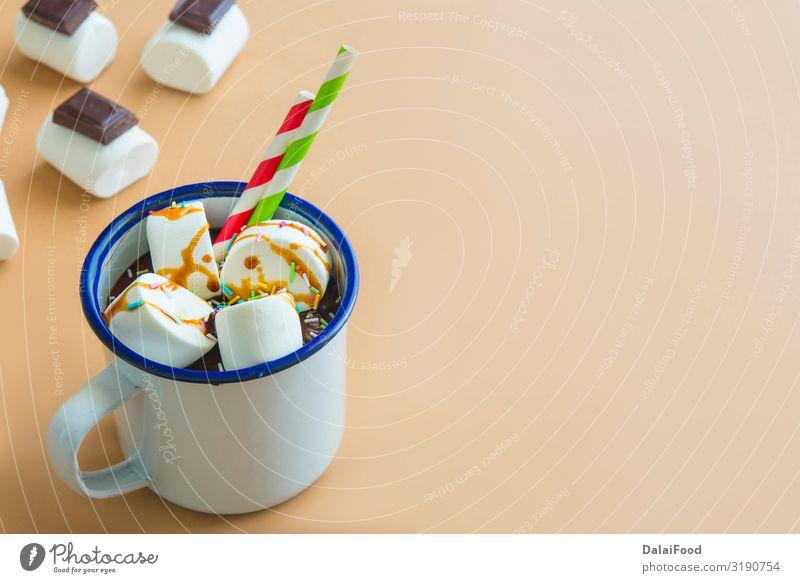 Schokoladengetränk mit Marshamallow Dessert Frühstück Getränk Kakao Kaffee Winter Dekoration & Verzierung Tisch Mann Erwachsene Herbst Wärme Holz heiß braun rot