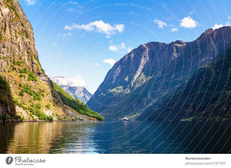 Aurlandsfjord Ferien & Urlaub & Reisen Tourismus Ausflug Ferne Kreuzfahrt Sommer Sommerurlaub Meer Natur Landschaft Urelemente Wasser Himmel Wolken