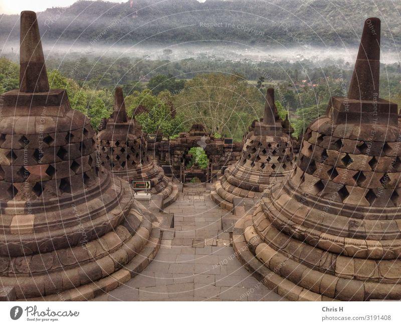 Borobodur Yogyakarta Indonesien Asien Dom Burg oder Schloss Ruine Bauwerk Gebäude Architektur Mauer Wand Sehenswürdigkeit Wahrzeichen Denkmal Borobudur
