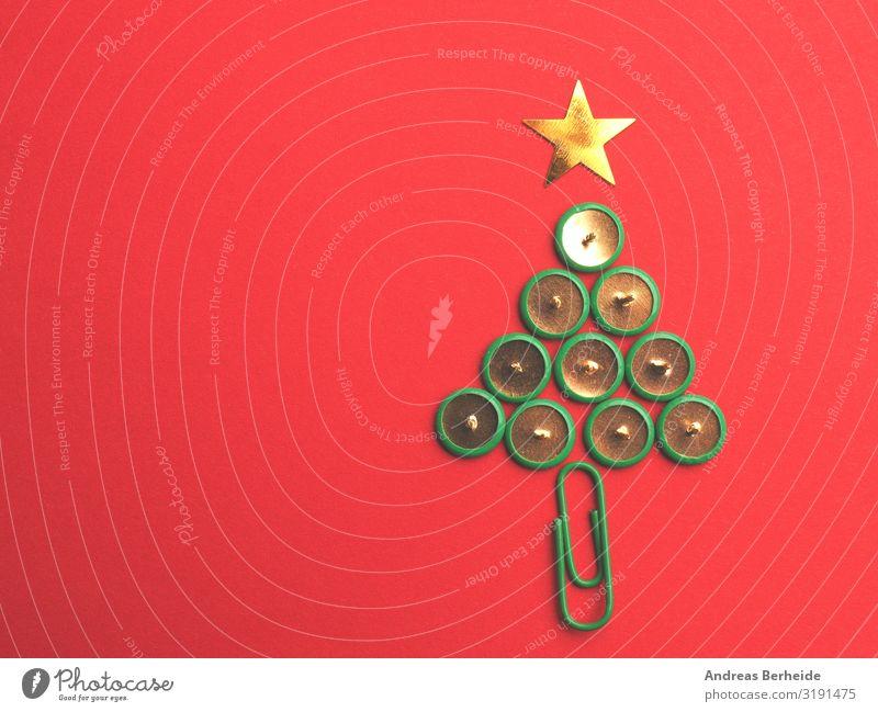 Nadelbaum Weihnachten & Advent rot Stil Büro Design Dekoration & Verzierung Stern (Symbol) Papier Symbole & Metaphern Postkarte Tradition Weihnachtsbaum