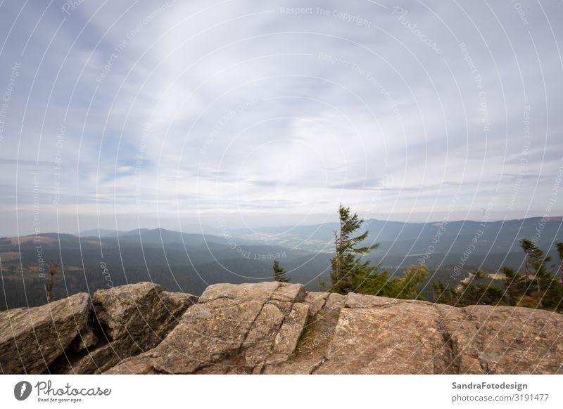 Landscape picture at the big Arber in Bavaria Ferien & Urlaub & Reisen Ausflug Sommer Berge u. Gebirge wandern Natur Landschaft Horizont Gipfel arber mountain