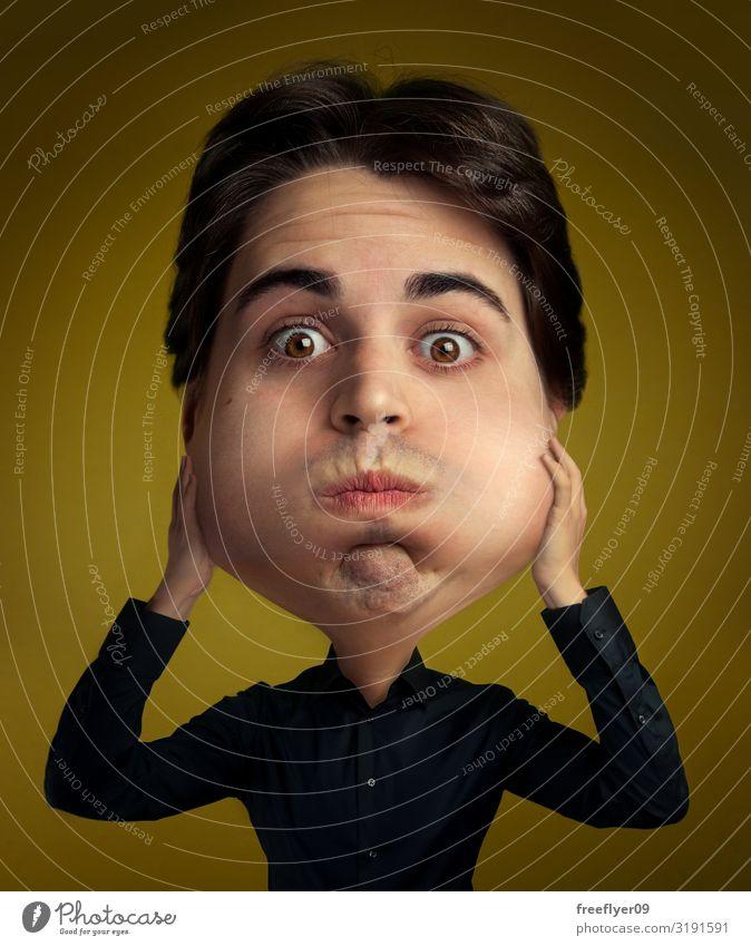 Der geschwollene Kopf Gesicht Mann Erwachsene 1 Mensch 18-30 Jahre Jugendliche Hemd Luftballon lustig niedlich gelb schwarz Idee Kreativität Surrealismus