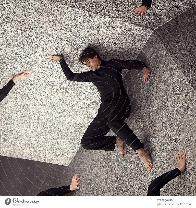 Mensch Jugendliche Mann weiß Hand schwarz 18-30 Jahre Erwachsene Stein Kreativität Idee Flugzeug Wissenschaften Barfuß Anzug Surrealismus