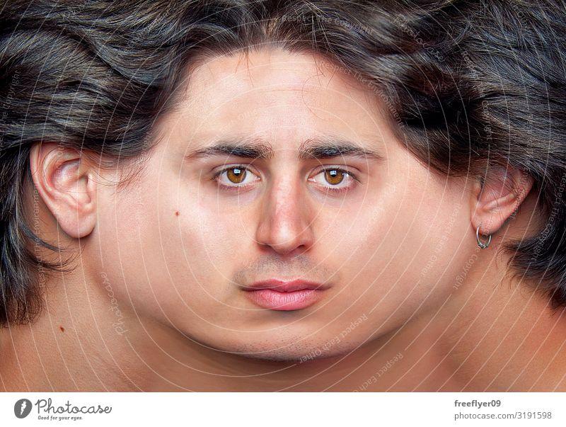 Mensch Mann Gesicht Erwachsene lustig außergewöhnlich Lächeln Haut Kreativität Idee Model Landkarte Surrealismus Entwurf horizontal Ohrringe