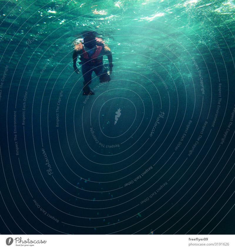 Junger Mann schwimmt von unten Freude Glück Körper Erholung Schwimmbad Ferien & Urlaub & Reisen Abenteuer Sommer Meer Sport tauchen Erwachsene 1 Mensch Bikini