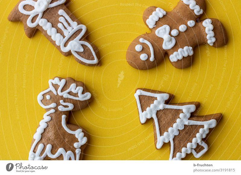 Weihnachtslebkuchen Weihnachten & Advent Lebensmittel gelb Feste & Feiern Ernährung Dekoration & Verzierung frisch genießen lecker Kerze Backwaren Süßwaren