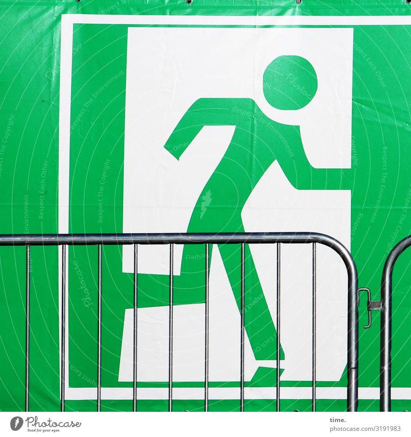 Geschichten vom Zaun (XXXVII) Mensch Pferch Abdeckung Metall Kunststoff Zeichen Schilder & Markierungen Hinweisschild Warnschild laufen rennen Geschwindigkeit