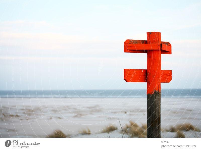 irgendwas Wichtiges Umwelt Natur Landschaft Himmel Horizont Küste Strand Nordsee Spiekeroog Holz Zeichen Schilder & Markierungen Hinweisschild Warnschild
