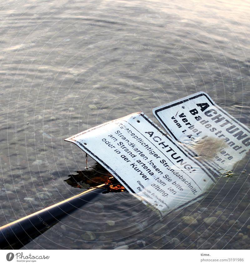 Problemlösung Wasser Schönes Wetter Wellen Küste Ostsee Stein Schriftzeichen Schilder & Markierungen Hinweisschild Warnschild liegen maritim rebellisch Kraft
