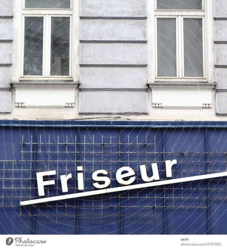 haarige Angelegenheit schön Haare & Frisuren Wellness Friseur Stadt Stadtzentrum Haus Mauer Wand Fassade Fenster Arbeit & Erwerbstätigkeit blau grau