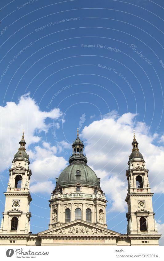 St.-Stephans-Basilika, Budapest Himmel Wolken Schönes Wetter Ungarn Stadt Hauptstadt Stadtzentrum Altstadt Kirche Dom Turm Sehenswürdigkeit blau weiß Glaube