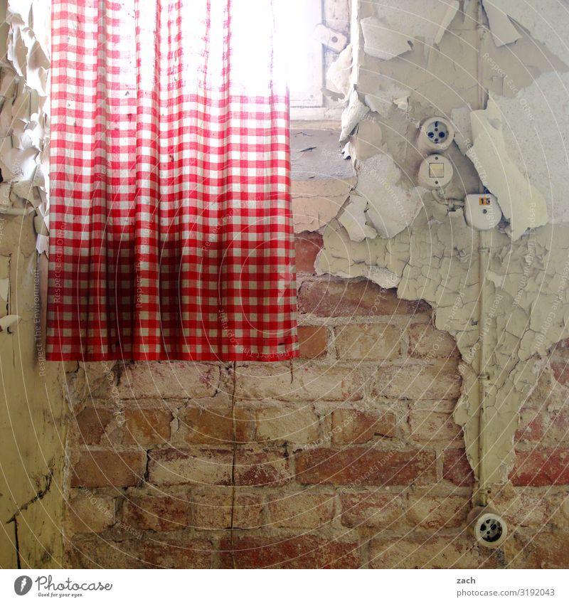 Hinter schwedischen Gardinen alt Fenster Innenarchitektur Wand Mauer braun Häusliches Leben Dekoration & Verzierung Vergänglichkeit kaputt Verfall Backstein