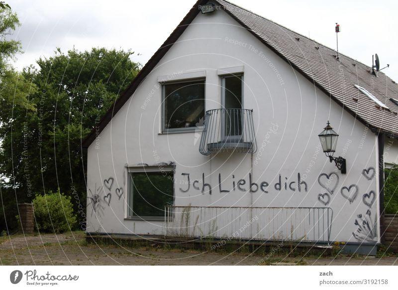 Trotz allem Wohnung Renovieren Wolken Baum Dorf Menschenleer Haus Einfamilienhaus Ruine Mauer Wand Fassade Balkon Garten Fenster Zeichen Schriftzeichen Graffiti