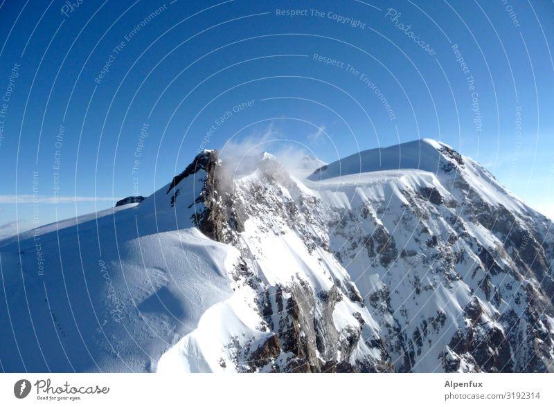Schwarzhorn von Süden Klima Klimawandel Schönes Wetter Eis Frost Schnee Hügel Felsen Alpen Berge u. Gebirge Monte Rosa Gipfel Schneebedeckte Gipfel Gletscher