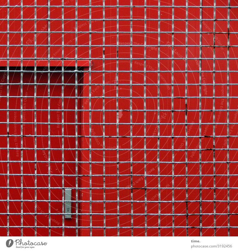 Geschichten vom Zaun (XXXVI) Hamburg Gebäude Tür Gitter Gitternetz Linie Netzwerk Stadt grau rot Sicherheit Schutz Ausdauer standhaft Angst Nervosität