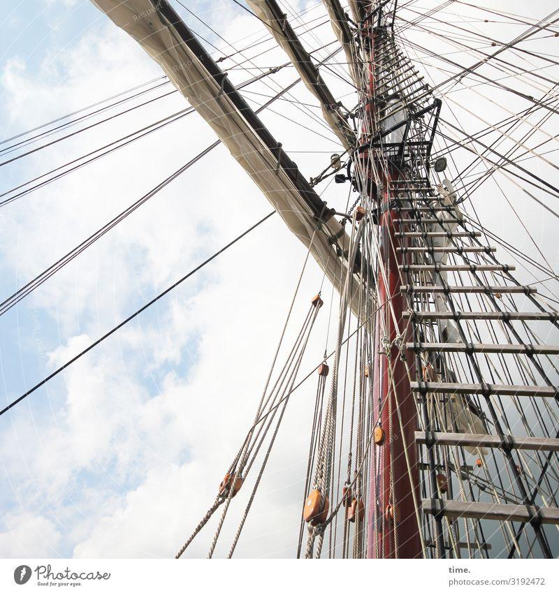 Halswirbelsäulentraining (XXII) Himmel Wolken Schönes Wetter Schifffahrt Segelschiff Mast Leiter Seil Tau Holz Linie hoch maritim Zusammensein Ausdauer