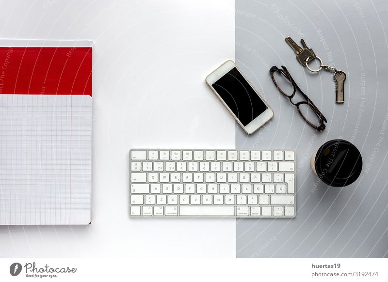 Von oben, Draufsicht Bürotisch-Schreibtisch. Arbeitsbereich Kaffee Lifestyle elegant Stil Design Tisch Arbeit & Erwerbstätigkeit Arbeitsplatz Business Telefon