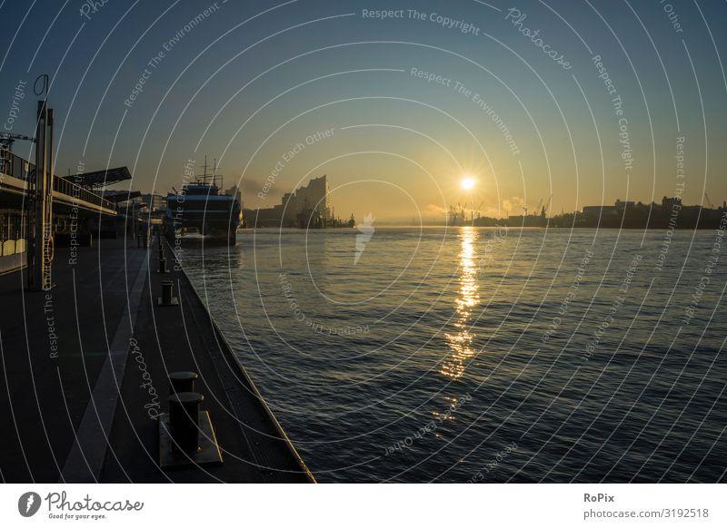 Sonnenaufgang im Hamburger Hafen. Lifestyle Design Wirtschaft Industrie Handel Mensch Kunst Architektur Umwelt Natur Landschaft Urelemente Luft Himmel