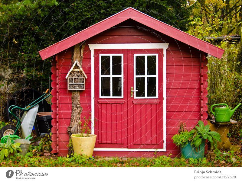 Ein leuchtend rotes Gartenhäuschen Gesundheit gärtnern Häusliches Leben Natur Herbst Pflanze Baum Blume Hütte Dekoration & Verzierung Gartengeräte Schubkarre