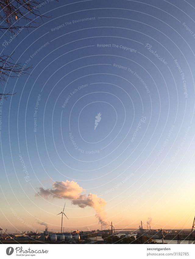 Hashtag skyporn Industrie Energiewirtschaft Windkraftanlage Kernkraftwerk Energiekrise Umwelt Wolkenloser Himmel Horizont Sonnenaufgang Sonnenuntergang Herbst