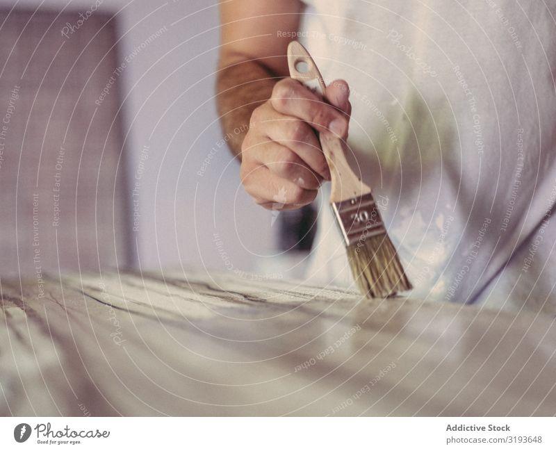 Zuschneidekünstler Malerei auf Leinwand Künstler malen Pinsel überdeckt Werkstatt abstrakt rau professionell Freizeit & Hobby Mann dreckig schäbig beschmutzen