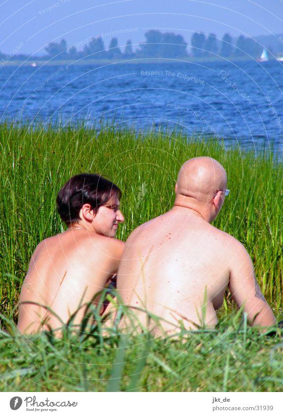 zwei am wasser Frau Mann Wasser Meer Sommer Gras Paar See paarweise Schilfrohr