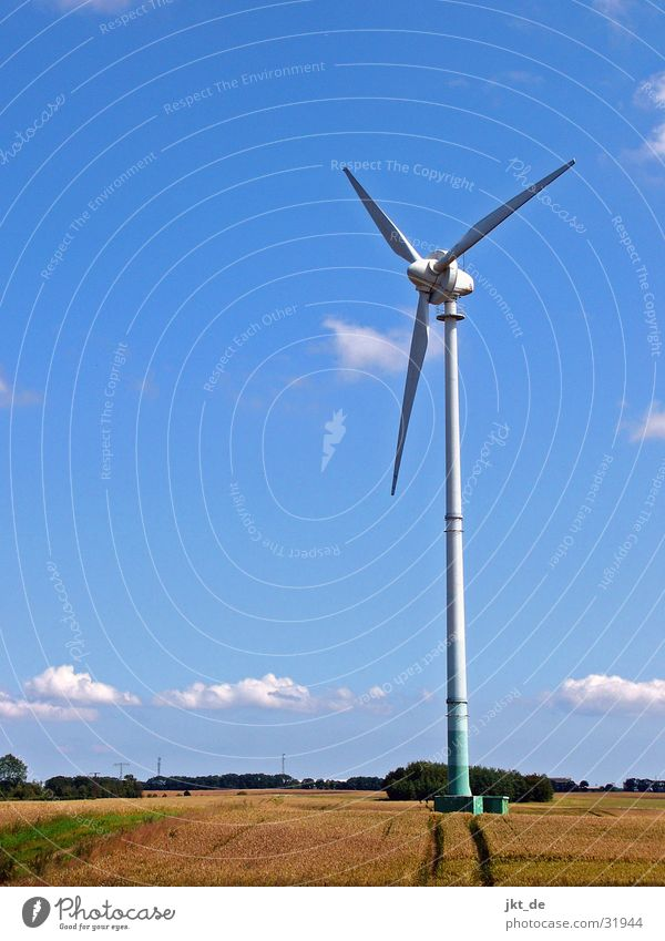 windrad im kornfeld 1 Himmel blau Sommer Elektrizität Windkraftanlage Kornfeld Mecklenburg-Vorpommern August Erneuerbare Energie