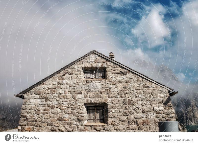 wetterfest Natur Landschaft Urelemente Himmel Wolken Schönes Wetter Alpen Haus Hütte Mauer Wand Fassade Fenster Stein Sicherheit Kraft Österreich