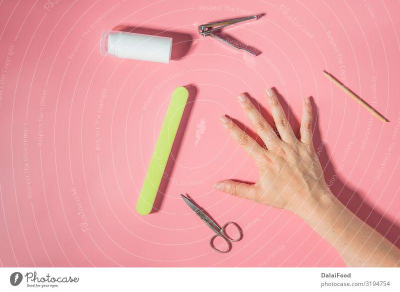 Nagelwerkzeuge Draufsicht Hintergrund Flasche schön Maniküre Pediküre Kosmetik Schminke Behandlung Spa Werkzeug Frau Erwachsene Mode grün rosa weiß Acryl