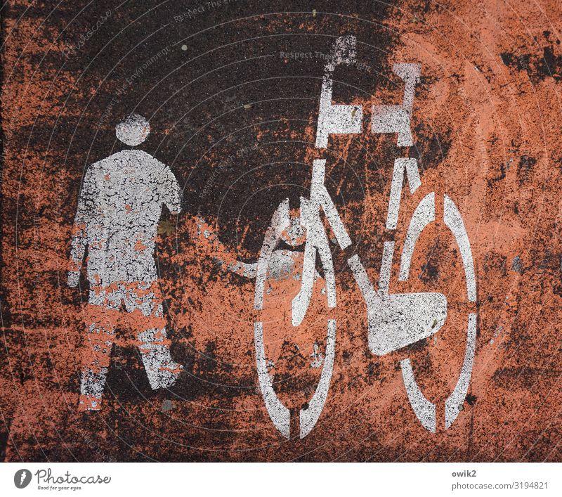 Verkehrskontrolle Verkehrsmittel Fahrzeug Fahrrad Piktogramm Zeichen Schilder & Markierungen Hinweisschild Warnschild alt einfach unten Stadt Fahrradweg