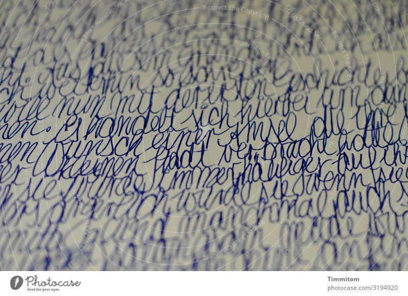 unscharf | teilweise Schriftzeichen schreiben alt blau Gefühle vergilbt Kindheit Märchen Handschrift handschriftlich Schwache Tiefenschärfe Papier sprechen