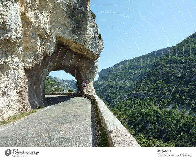 Durchbruch... Sommer Schönes Wetter Wald Felsen Berge u. Gebirge Pyrenäen Verkehr Verkehrswege Straße Wege & Pfade Tunnel Verkehrszeichen Verkehrsschild Pass