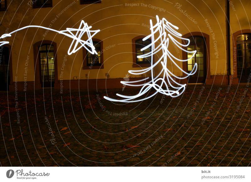 Unscharf l Weihnachtsbaum und Weihnachtsstern als Lichtmalerei. Feste & Feiern Weihnachten & Advent Silvester u. Neujahr Kunst Kunstwerk Gemälde