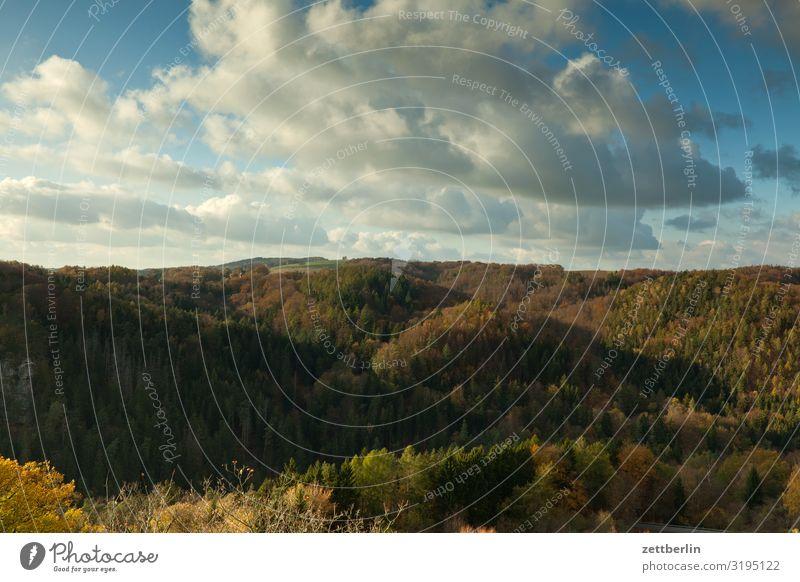 Elbsandsteingebirge Himmel Ferien & Urlaub & Reisen Himmel (Jenseits) Stadt Landschaft Erholung Wolken Wald Berge u. Gebirge Herbst Felsen wandern Hügel