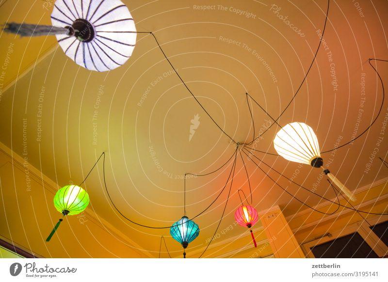 Vietnamesisches Restaurant Beleuchtung erleuchten Erkenntnis Kabel Lampe Lampion Licht Menschenleer pendellampe Textfreiraum Raum Innenarchitektur Gastronomie