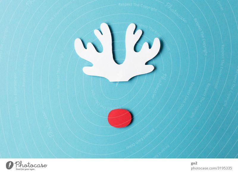 Rudolf Weihnachten & Advent blau rot Tier lustig außergewöhnlich Design Freizeit & Hobby Wildtier Kindheit ästhetisch Fröhlichkeit Kreativität niedlich Papier