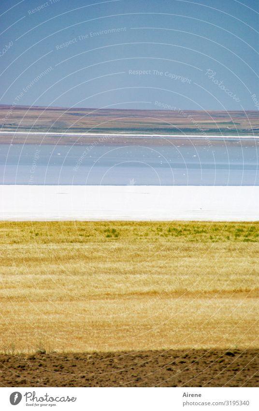cum grano salis Umwelt Landschaft Wolkenloser Himmel Schönes Wetter Feld Seeufer Wüste Salzsee Horizont Türkei Streifen Niveau Farbschicht außergewöhnlich