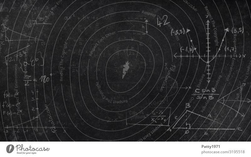Mathematik auf schwarzer Schultafel weiß Hintergrundbild Schule Schriftzeichen lernen Studium Zeichen Ziffern & Zahlen Bildung Tafel Physik