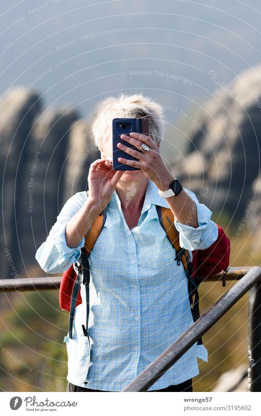 Lieblingsmensch | Urlaubserinnerungen Herbst Sächsische Schweiz Thementag Elbsandsteingebirge wandern Berge u. Gebirge Ferien & Urlaub & Reisen Frau weiblich