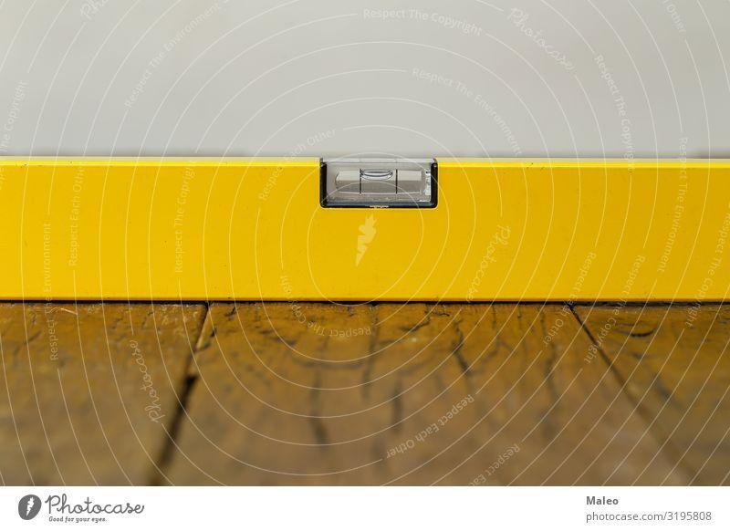 Gelbe Wasserwaage Profil Werkzeug gelb Gebäude Haus messen Messung bauen Konzepte & Themen Besitz Renovieren Handwerker Projekt Skala Ecke Arbeitsplatz