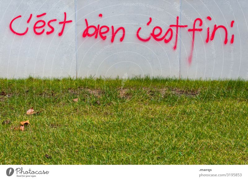 C´est bien | Geschriebenes Wiese Mauer Wand Schriftzeichen Graffiti gut Gefühle Zufriedenheit Optimismus Ende Kommunizieren Ziel Französisch Redewendung
